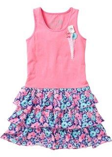 Платье с воланами (ярко-розовый с принтом) Bonprix