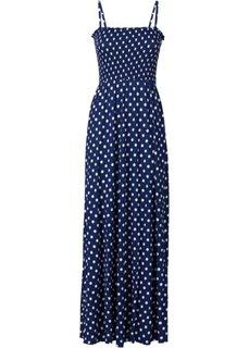 Макси-платье с буфами (ночная синь/белый в горошек) Bonprix