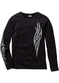Облегающая футболка с длинным рукавом (черный) Bonprix