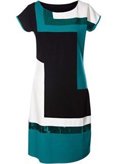 Трикотажное платье блок-колор (черный/темно-изумрудный) Bonprix