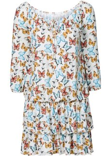 Платье с воланами (цвет белой шерсти с рисунком) Bonprix