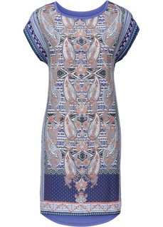 Платье-блузон в стиле бохо (лилово-синий с принтом) Bonprix