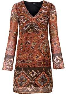 Платье (оранжевый/черный/темно-коричневый с рисунком) Bonprix