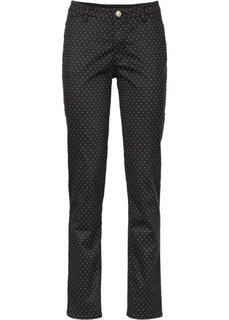 Твиловые брюки с принтом в горошек (черный/белый) Bonprix