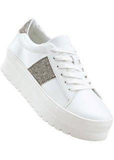 Кроссовки на платформе (белый/серебристый) Bonprix