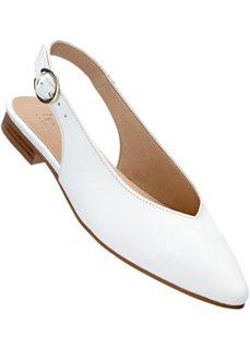Кожаные балетки с открытой пяткой (белый) Bonprix