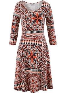 Трикотажное платье с рукавом 3/4 (бордово-коричневый с рисунком) Bonprix