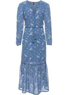 Длинное платье в богемном стиле (синий джинсовый с рисунком) Bonprix