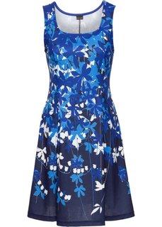 Трикотажное платье с цветочным принтом (темно-синий/нежно-голубой с узором) Bonprix