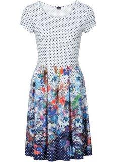 Платье с принтом (темно-синий/белый с узором) Bonprix