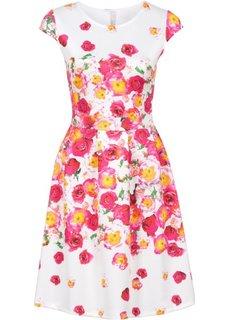 Платье в дизайне под неопрен (белый) Bonprix
