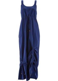 Льняной сарафан длиной макси (темно-синий) Bonprix