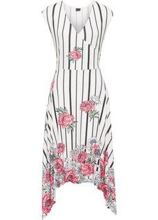 Асимметричное платье (кремовый в полоску) Bonprix