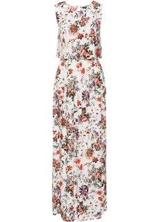 Длинное платье с цветочным принтом (кремовый в цветочек) Bonprix