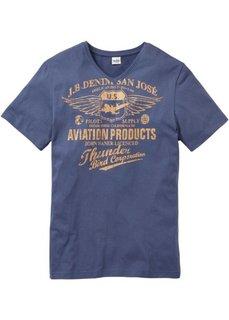 Принтованная футболка Regular Fit (синий джинсовый) Bonprix