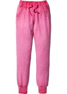 Трикотажные брюки с эффектом потертости (ярко-розовый) Bonprix