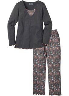 Пижама с длинными брюками (серый с рисунком) Bonprix