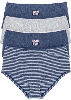 Высокие трусики-панти (4 шт.) (темно-синий/светло-серый меланж/розовый) Bonprix