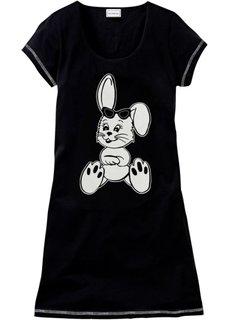 Ночная рубашка (черный/белый с рисунком) Bonprix