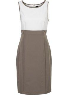 Платье (экрю/серо-коричневый) Bonprix