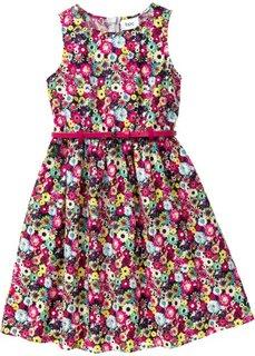 Цветочное платье + ремень (горячий ярко-розовый в цветочек) Bonprix