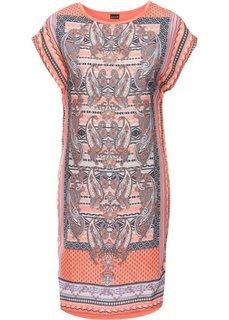Платье-блузон в стиле бохо (мандариновый с принтом) Bonprix