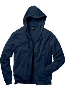 Трикотажная куртка стандартного покроя с капюшоном (темно-синий) Bonprix