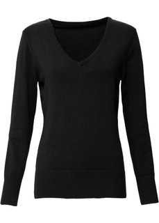 Пуловер тонкой вязки (черный) Bonprix