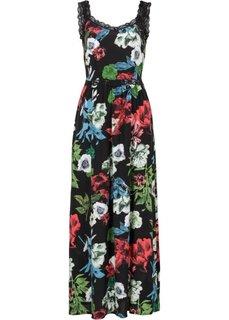 Макси-платье с кружевом (черный с рисунком) Bonprix