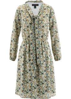 Платье с бантом у выреза (зеленый хаки в цветочек) Bonprix