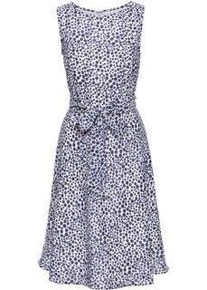 Платье (белый/темно-синий в горошек) Bonprix