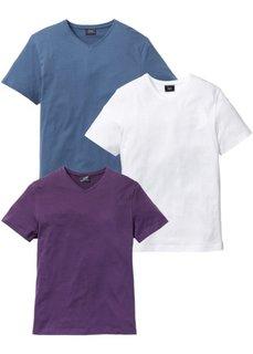 Футболка Regular Fit с V-образной горловиной (3 изделия в упаковке) (виноградный + синий джинсовый + белый) Bonprix