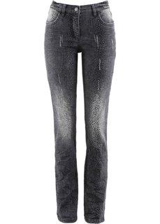 Стрейчевые джинсы с принтом (серый деним с рисунком) Bonprix