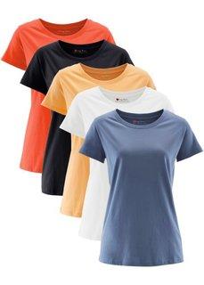 Футболка с короткими рукавами (5 шт.) (мандариново-красный + абрикосовый + синий джинсовый + белый) Bonprix
