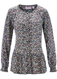 Блузка с баской и длинным рукавом − дизайн от Maite Kelly (черный в цветочек) Bonprix
