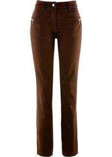 Брюки-стретч с декоративной стежкой (темно-коричневый) Bonprix