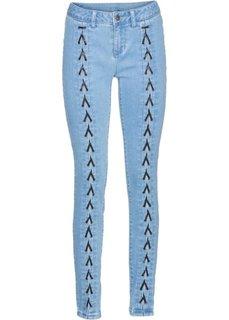 Джинсы-дудочки со шнуровкой (нежно-голубой выбеленный) Bonprix