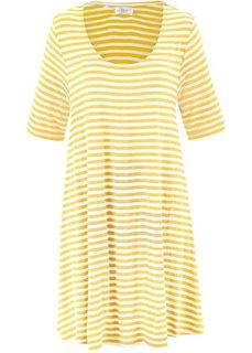 Трикотажная туника с коротким рукавом (желтый/цвет белой шерсти в полоску) Bonprix