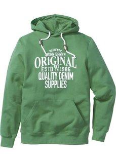 Свитшот Regular Fit с капюшоном и принтом (зеленый) Bonprix