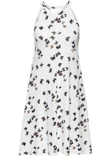 Трикотажное платье (цвет белой шерсти/с рисунком бабочек) Bonprix