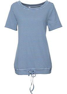 Полосатая футболка с рукавом 1/2 (синий джинсовый/белый в полоску) Bonprix