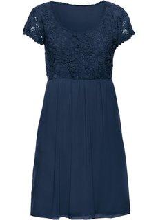 Платье с кружевной отделкой (темно-синий) Bonprix