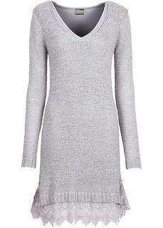 Вязаное платье с кружевными воланами внизу (светло-серый) Bonprix