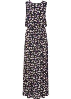 Длинное платье с цветочным принтом (темно-синий в цветочек) Bonprix