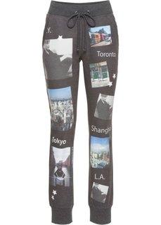 Спортивные брюки с фотопринтом (антрацитовый с рисунком) Bonprix