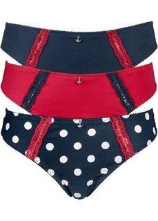 Трусики (3 пары) (темно-синий/белый + темно-синий + красный) Bonprix