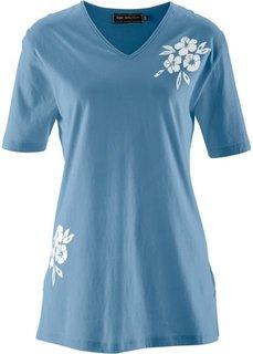 Удлиненная футболка (синий джинсовый / белый с рисунком/с принтом) Bonprix