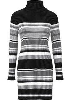 Трикотажное платье (черный/серый) Bonprix