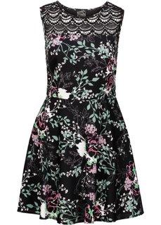 Платье с кружевной кокеткой (черный в цветочек) Bonprix