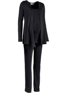 Мода для беременных: спортивные костюм из куртки, брюк и топа (3 изд.) (черный) Bonprix